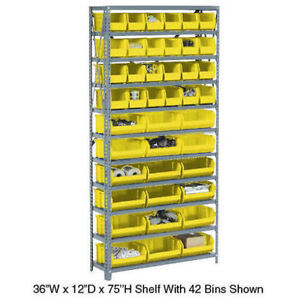Open Bin Shelving W 5 Shelves 16 Yellow Bins 36x12x39 Lot Of 1