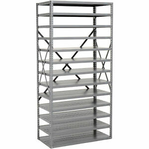 Open Bin Shelving Without Bins 13 Shelves 36x12x73 Lot Of 1