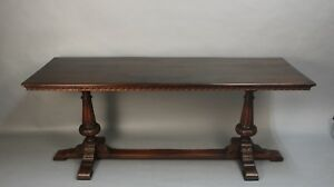 Antique Spanish Revival Long Walnut 1920 S Carved Console Table 11563