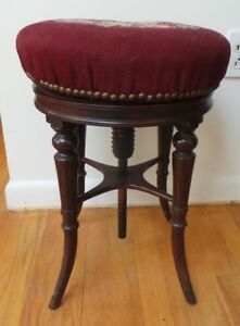 Piano Swivel Stool Burgundy Needlepoint Quilting Nailheads