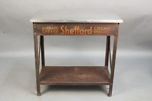 Fun Vintage Industrial Display Side Table With Shefford Cream Cheese Logo 11586