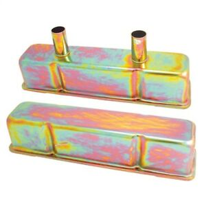 Spectre Sb Chevy Circle Track Valve Cover Set Gold Iridite Spe4992