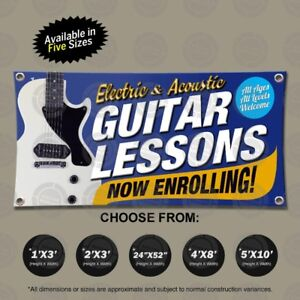 Guitar Lessons Electric Acoustic Banner Open Sign School Display Pedal Strings