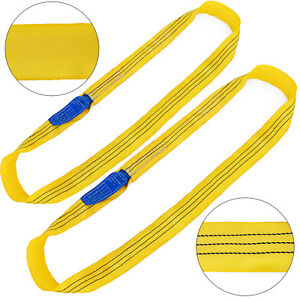 2pcs 8ft 6600lbs Endless Round Lifting Sling Anti corrosion Recovery Strap Crane