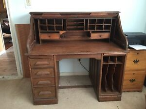 Antique 1898 Oak Roll Top Desk