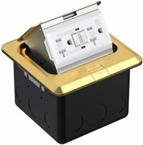 Multi application Electrical Floor Outlet Boxes Brass Cover