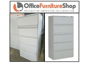 Steel case 5 Drawer Office Filing Rolling Lateral File Cabinets For Sale