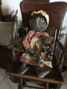 New Primitive Folk Art Black Antique Style Handmade Dolls Rosie