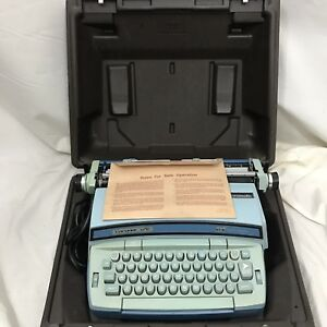 Smith Corona Coronet Super 12 Electric Typewriter Two Tone Blue W Case Manual