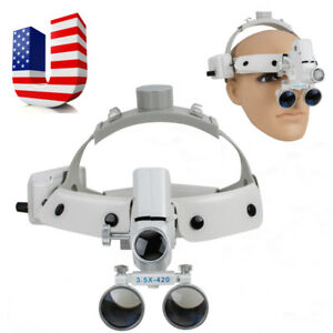 us Ship 3 5x 280 380mm Dental Medical Surgical Binocular Loupes Led Headlight