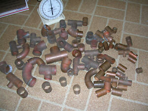 Lot Of Vintage Nos Copper Tees Elbows Coupling Dwv 2 And Under 21lbs