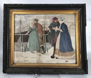 Jules Loebnitz Maison Pichenot Antique Hand Painted Tile With Figurines 1879