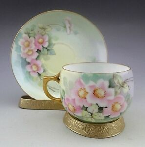 Antique Unmarked Hand Painted Pink Flowers Tea Cup And Saucer