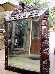 Large Antique Hand Carved Mirror