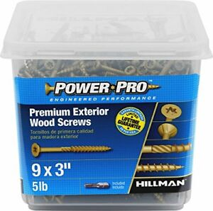 Hillman 48611 Power Pro Exterior All Purpose Wood Deck Screws 9 X 3 5 Lbs