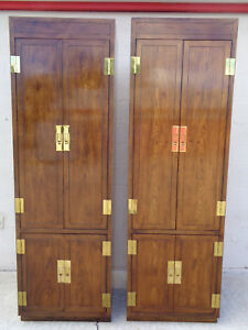 Vtg Pair Of Henredon Campaign Style Cabinets Armoires Brass Adjustable Shelves
