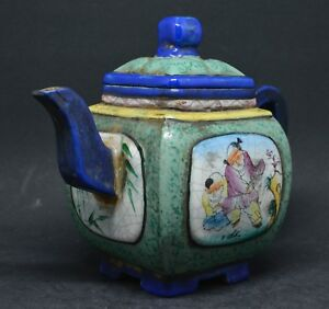 Chinese Yixing Pottery Enameled Teapot 5 Inches Tall Impressed Mark