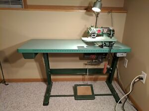 Us Blind Stitch Industrial Sewing Machine 718 2 Includes Table Motor Light