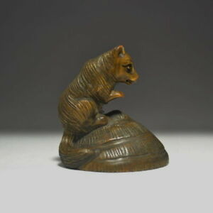 Rare Wooden Fox And Mouse Rat Hidden Umbrella Netsuke Japanese Antique Japan