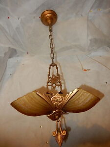 1930s Art Deco 3 Light Slip Shade Chandelier