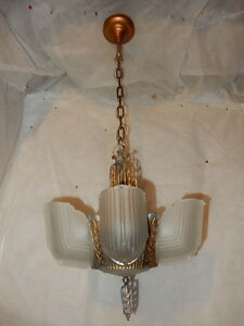 Ca 1930s Art Deco 7 Bulb Slip Shade Chandelier