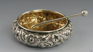 Married Set 23pc Sterling Silver Late 19th Century Repousse Salt Cellars Spoons