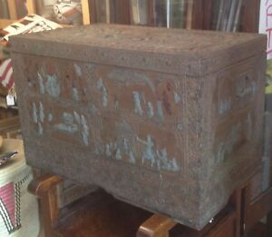 Indian Dowry Chest 19th Century Rare Incredible Decorated Look At This