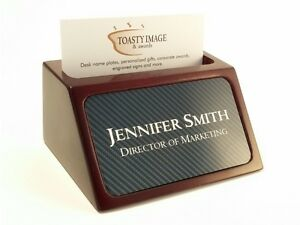 Personalized Business Card Holder For Desk Wood With Carbon Fiber Look Insert