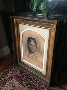 Huge Gold Gesso Victorian Picture Frame 36 X 30 With Arched Mat