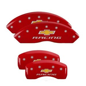 Mgp 4 Caliper Covers Engraved Front Rear For Chevy Racing Red Finish Silver Ch