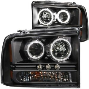 Anzo For 2005 2007 Ford Excursion Projector Headlights W Halo Black W Led Stri