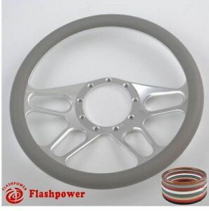15 5 Billet Steering Wheel Light Grey Half Wrap Gm Belvedere Buick Gmc Gto