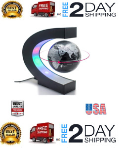 Perpetual Motion Floating Globe Office Desk Toy Rotating Globe Magnetic Led Lit