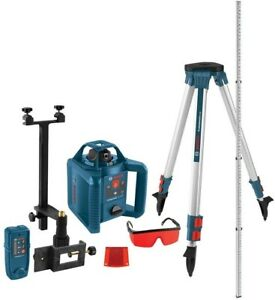 Bosch Rotary Laser Level Kit 5 Piece Self Leveling 800 Ft Visible Line Range New