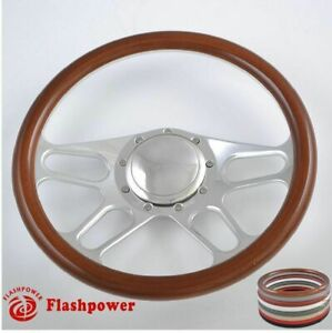 15 5 Billet Steering Wheel Wood Half Wrap Buick Chevy Ford Mopar W Horn Button