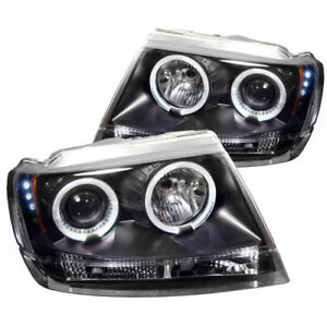 Spyder For Jeep Grand Cherokee 99 04 Projector Headlights Led Halo Led Blk Pro
