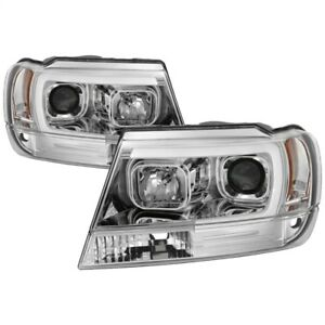 Spyder 99 04 Jeep Grand Cherokee Projector Headlights Light Bar Drl Led Chro
