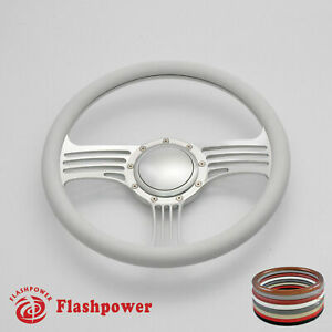 15 5 Satin Billet Steering Wheel White Half Wrap Gto Ford Impala W Horn Button