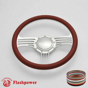 15 5 Satin Billet Steering Wheel Burgundy Half Wrap Gto Ford
