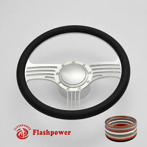 15 5 Polished Billet Steering Wheel Black Half Wrap Gto Chevy