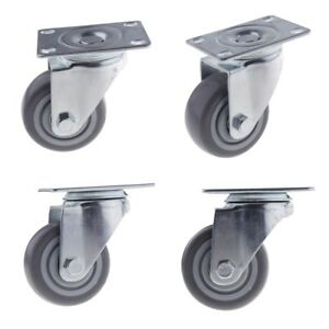 4pcs Pack 3 Mute Tpr Rubber Swivel Plate Caster Wheel For Appliances Carts