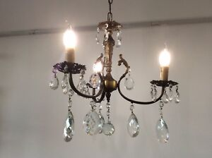 Vintage French Baroque Bronze Crystal 3 Arm Chandelier C1930s