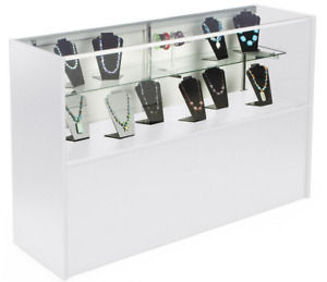 58 White Retail Counter Display Showcase W Cabinet Base Adjustable Glass Shelf