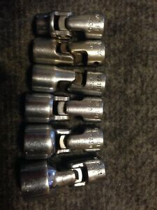 Snap on 1 4 Drive 6 point Sae Flank Drive Shallow Universal Sockets