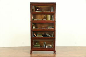 Lawyer 5 Stack Antique Mahogany Library Or Office Bookcase Macey 30323