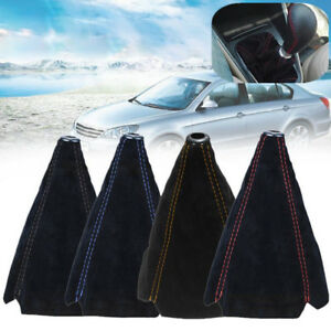 1x Suede Leather Manual Gear Stick Shift Knob Cover Boot Gaiter Cover Waterproof