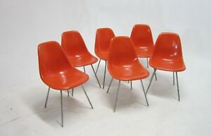 Set Of 6 Bright Orange Fiberglass Shell Chairs Herman Miller Charles Eames