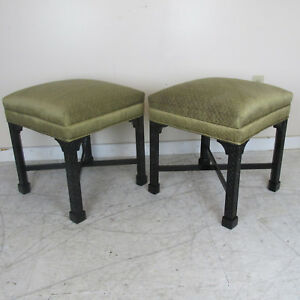 Pair Vintage Chinese Chippendale Style Stools