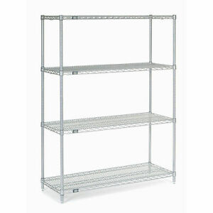 Chrome Wire Shelving 42 w X 14 d X 54 h Lot Of 1