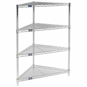 Corner Wire Shelving 24 w X 18 d X 54 h Lot Of 1